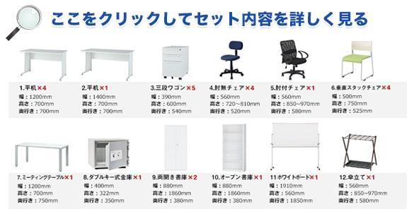 5人用オフィス家具セット内容
